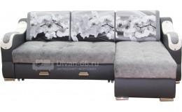 Угловой диван  Эко 27 (Металлокаркас) тройной раскладки (Эми 09, Сакура серая)