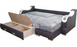Угловой диван  Эко 27 (Металлокаркас) тройной раскладки (Эми 09, Orchideya White)