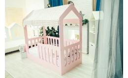 """Детская кроватка  """"ДОМИК"""" Розовый без ящика"""
