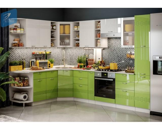 Модульный кухонный гарнитур Виола НЕО Бриз Зеленое яблоко глянец