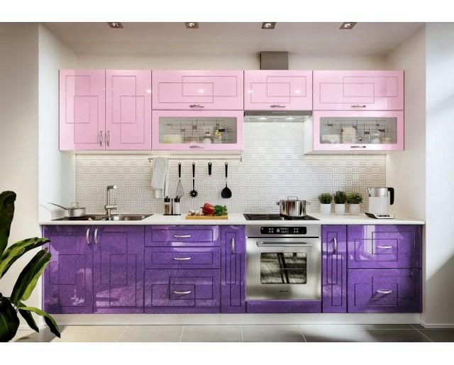 Модульный кухонный гарнитур Виола НЕО Клетка Фиолетовый металлик