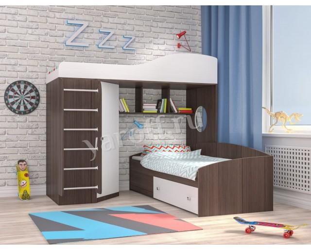 Кровать чердак «Кадет 2» с металлической лестницей